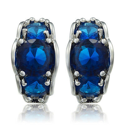 Sarotta Jewelry New Round Cut Blue Sapphire 18K White Gold Plated Lady Earrings