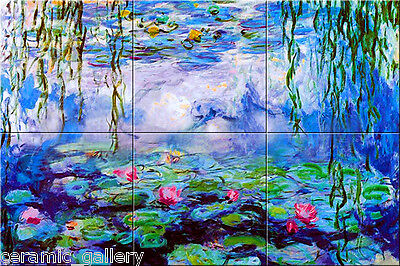 6x6 Monet Garden Ceramic Art_WATER LILIES_6 Tile Mural
