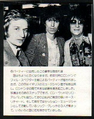 1975 Ron Wood Keith Richards Ric Grech JAPAN mag photo w/text / clipping s02m