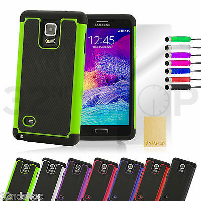 NEW SHOCK PROOF CASE COVER FOR Samsung Galaxy Note 4 SCREEN PROTECTOR