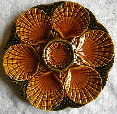 "VINTAGE FRENCH MAJOLICA OYSTER PLATE SIGNED "" SARREGUEMINES """