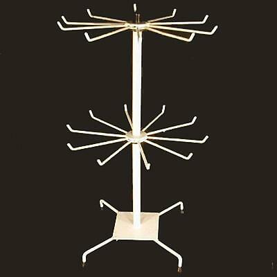 DELUXE 20 INCH WHITE SPINNING DISPLAY WIRE RACK new 2 level counter hanging tall