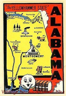 Vintage Alabama Yellow Hammer Souvenir State Map Travel Decal Water Luggage Auto