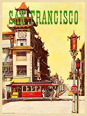 "1960s ""San Francisco"" Vintage Style California Travel Poster 20x30"