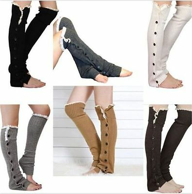 Women Knee High Knit Flat Lace Trim Button Down Crochet Leg Warmers Boot Socks