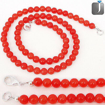 124.30CTS NATURAL ORANGE CARNELIAN SILVER NECKLACE BEADS JEWELRY E6815