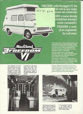 FORD TRANSIT 90 MADISONS FREEDOM VI MOTORHOME BROCHURE/SHEET LATE 70's