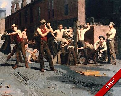Rest Break Time For The Ironworkers Mill Men Oil Painting Art Real Canvas Print