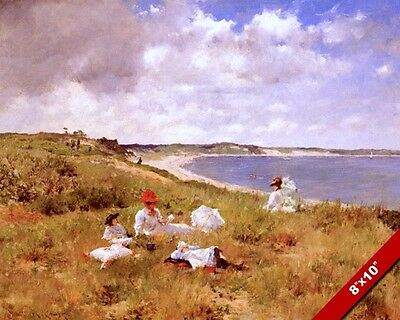 Idle Hours At The Beach On The Shore Oil Painting Art Real Canvas Giclee Print