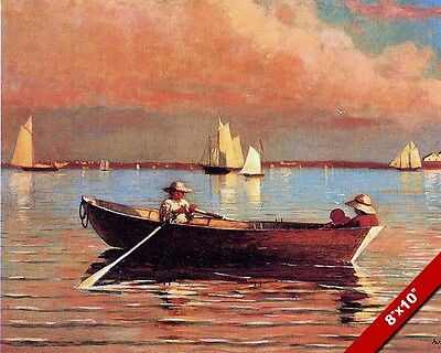 Row Boat In The Bay At Dusk Sunset Oil Painting Art Real Canvas Giclee Print