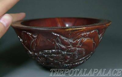 Old Chinese Ox Horn Made Bowl~DEERS, CRANES UNDER PINE TREE~AUSPICIOUS