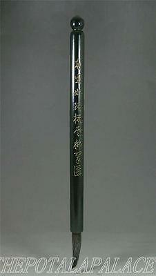 Old Chinese Spinach Nephrite Jade Brush Stick CHINESE POEM INCISED~CALLIGRAPHY