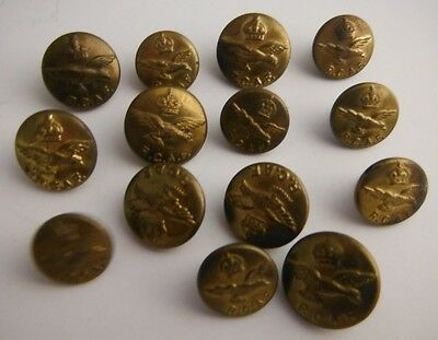 (14) CANADA RCAF AIR FORCE BRASS MILITARY BUTTONS