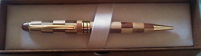 Pen Wooden Ballpoint Gold Trim In gift box Just beautiful! Perfect gift!