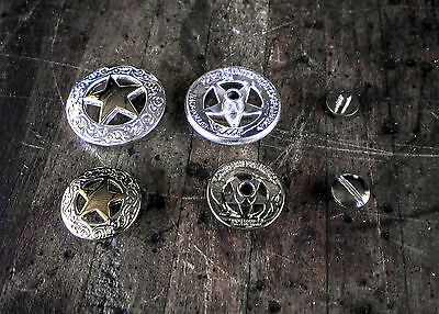 Conchos Screwback-Western Texas Star-High quality silver & gold - 2 sizes Qty 1
