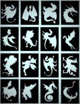 DRAGONS Glitter Tattoo stencils,FREE DELIVERY,Fantastic Designs, Pack of 16