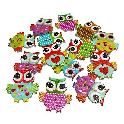40 Cute Wooden Owl Buttons - Craft - Scrapbook - Sewing - Cards - Embellishments