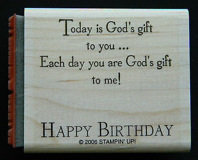 RARE Stampin up 2 in 1 stamp HAPPY BIRTHDAY & YOU ARE A GIFT TO ME saying su