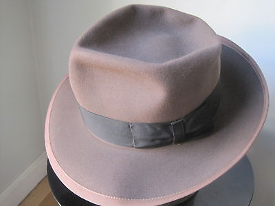 STUNNING Vintage 40's SCHOBLE 4X SUPREME Fedora, Taupe, Size 6 7/8