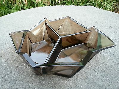 Ruba Rombic ~ Smoky Topaz ~ Three Part Bon Bon Dish ~ Consolidated Glass ~RARE~