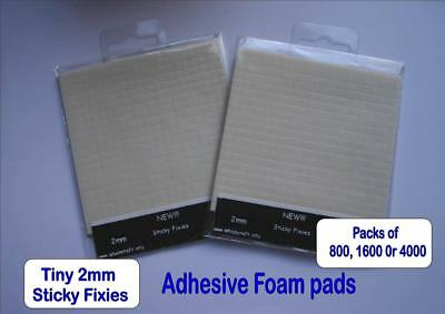 Double Sided Adhesive Foam Pads X 800  1600 4000 Sticky Fixers 5mmTINY 3D NEUTR