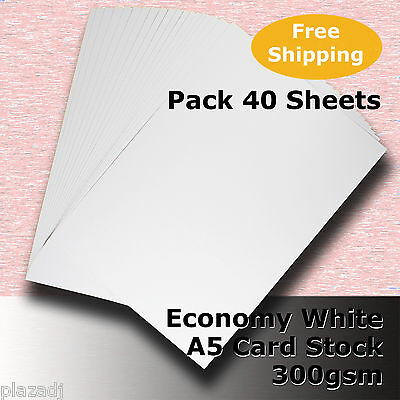40 Sheets Economy Card Stock WHITE A5 Size 300gsm #H5505 #D1