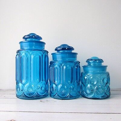 Set of three vintage L.E. Smith blue moon and stars canisters, rare peacock blue