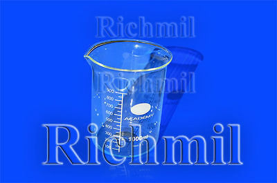 1000ml Borosilicate Glass Laboratory Lab Science Measuring Beaker Container