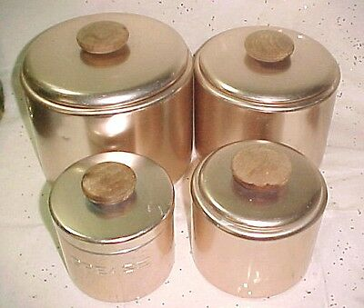 Vintage 8 Piece Mirro Copper Pink Aluminum Canister Set Flour Sugar Tea Grease
