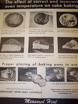 1950 Poster*robertshaw Oven Heat Controls*youngwood Pa*cake Baking*black & White