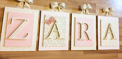Pink Nursery Letters, Girls Wall Letters, Pink Wooden Letters, Wall Letters 8x10