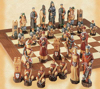 The Crusades Hand Painted Chess Pieces