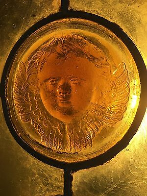 Tiffany Ecclesiastical Glass Roundels and Cherub