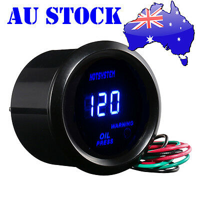 "BLACK 2"" 52mm BLUE DIGITAL LED 0-120 PSI CAR OIL PRESSURE PRESS GAUGE MEASURE AU"