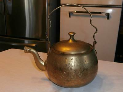 VTG FLORAL ETCHED SOLID BRASS SWING HANDLE TEAPOT COOL SPOUT GREAT DESIGN