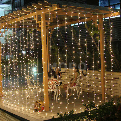 Waterproof  500 LED Warm White Fairy String Curtain Net Lighting Christmas Party