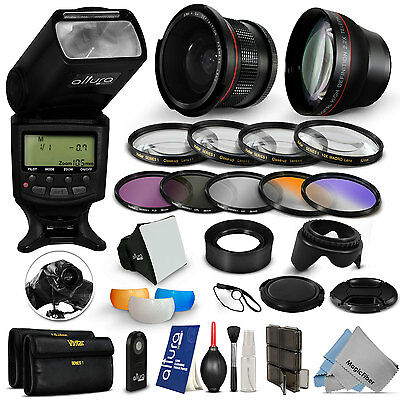 Professional Flash / Lens / Accessory Kit for Canon EOS Rebel T5i T4i T3i SL1