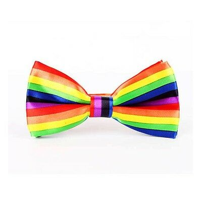 Unisex Gay Pride Rainbow Stripe Bow Tie - Brand New