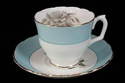 Crown Staffordshire Fine Bone China - GRAY BLOSSOMS - Tea Cup & Saucer