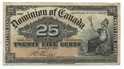 1900 25 Cent Currency Note Dominion of Canada