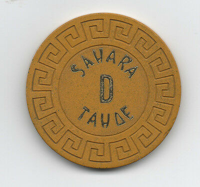 """Old Yellow Poker Chip from the Sahara Casino Lake Tahoe """" D """""""