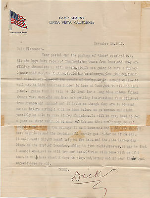 WWI 1917 Letter on Patriotic Stationary from Camp Kearny Linda Vista CA