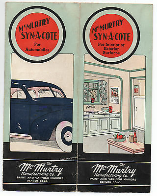 p1930s Advertising Brochure with Paint Samples for McMurtry Syn-a-Cote Denver CO