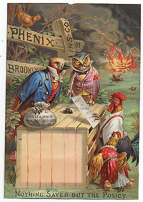 Great 1890s Paper Sign Phenix Insurance Co of Brooklyn w/ Owls & Chickens