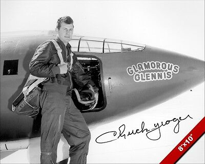 Chuck Yeager Usaf Pilot Signature Photograph Art Real Canvas Signed Re Print