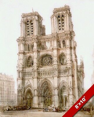Cathedral Of Notre Dame Paris France Drawing Painting Art Real Canvas Print