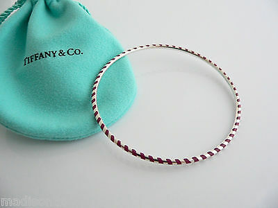 2bed0bb95 Tiffany & Co Silver Picasso Red Enamel Stripe Bangle Bracelet Rare Excellent