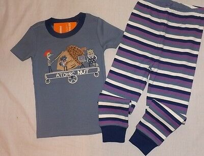 "New boys GYMBOREE ""Atomic Nut"" short sleeve 2 pc pajamas Size 3"
