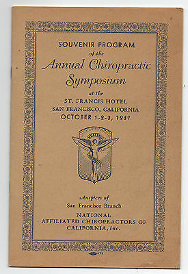 1937 Program from the Annual Chiropractic Symposium at San Francisco