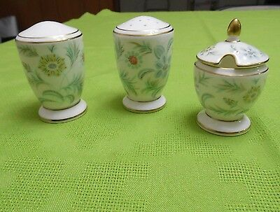 Minton English Bone China Vanessa 3 piece set  Salt Pepper and ? Shakers England